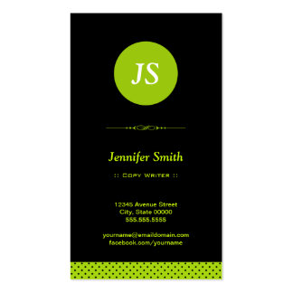 Escritor de la copia - verde elegante tarjetas de visita