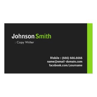 Escritor de la copia - verde minimalista moderno tarjetas de visita