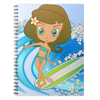 Escritor de la onda de Lil Wahine Libro De Apuntes Con Espiral
