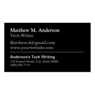 Escritor de tecnología técnico - blanco negro tarjetas de visita