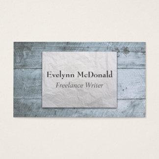 Escritor free lance de papel arrugado fondo de tarjeta de negocios