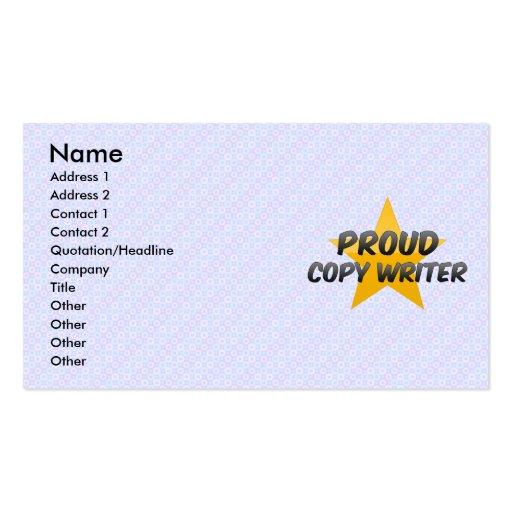 Escritor orgulloso de la copia tarjetas de visita