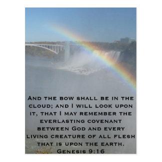 Escritura de la biblia del arco iris postal