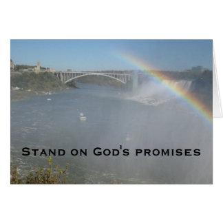 Escritura de la biblia del arco iris tarjeta de felicitación