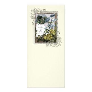 Escritura de la biblia del vintage con los rosas tarjeta publicitaria a todo color