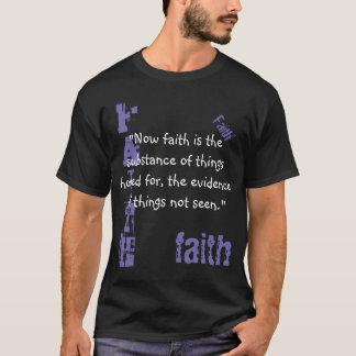 Escritura de la fe de la camiseta de los hombres,