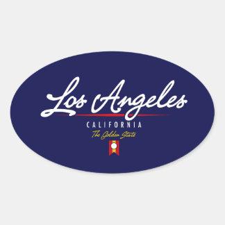 Escritura de Los Ángeles Pegatina Oval Personalizadas