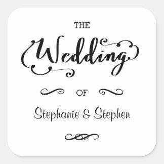 Escritura del boda - pegatina cuadrado