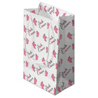 Escritura del cáncer de F*ck con el bolso rosado Bolsa De Regalo Pequeña