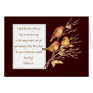 Escritura del estímulo, 6:26 de Matthew, Tarjeta De Felicitación
