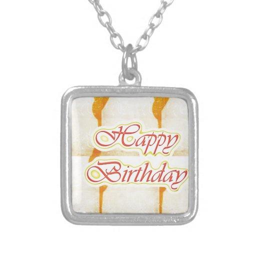 Escritura del FELIZ cumpleaños: Cristal puro del A Pendiente