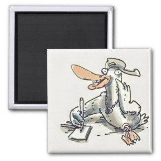 escritura divertida del pato en dibujo animado de imán