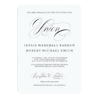 Escritura elegante del boda de la unión gay de las invitación 12,7 x 17,8 cm