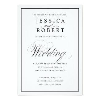 Escritura elegante e invitación negra del boda de