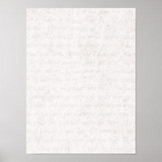 Escritura francesa antigua de papel del vintage qu póster