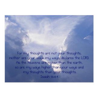 Escritura, imagen del ángel, 55:8,9 de Isaías, Postal