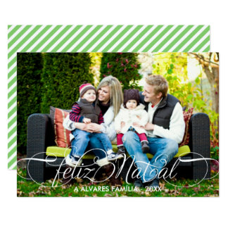 Escritura natal de Cartão Feliz Foto el | Branco Invitación 12,7 X 17,8 Cm