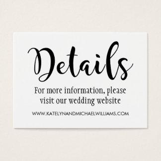 Escritura negra de la tarjeta de detalles del boda