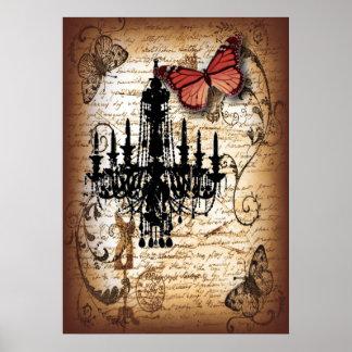 escrituras de la mariposa de la lámpara del vintag póster