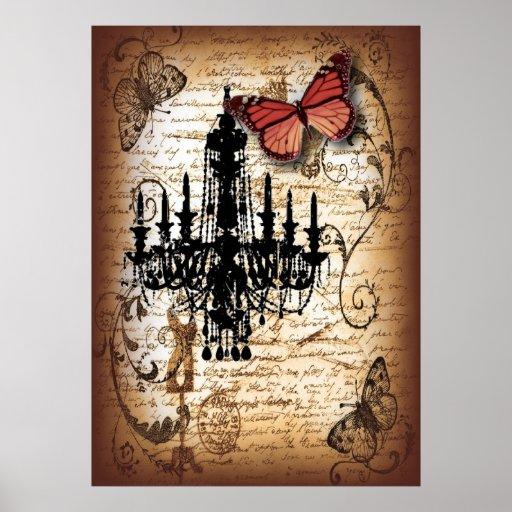 escrituras de la mariposa de la lámpara del vintag posters