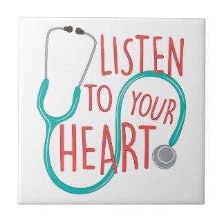 Escuche el corazón azulejo cuadrado pequeño