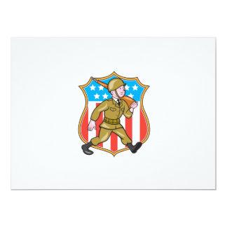 Escudo americano del dibujo animado del soldado de invitación 16,5 x 22,2 cm