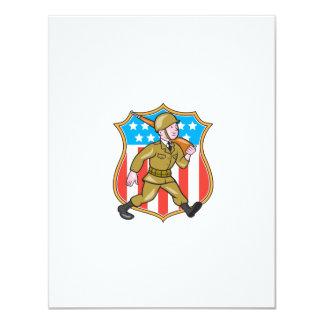 Escudo americano del dibujo animado del soldado de invitación 10,8 x 13,9 cm