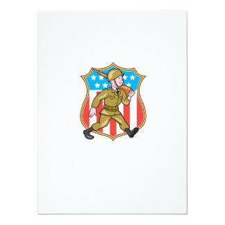 Escudo americano del dibujo animado del soldado de invitación 13,9 x 19,0 cm