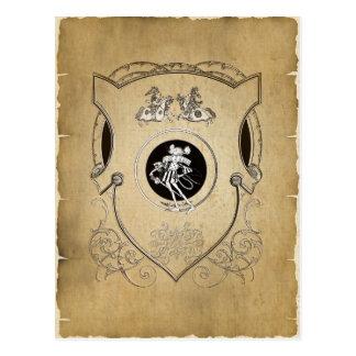 Escudo banal del caballero del ratón del vintage postal