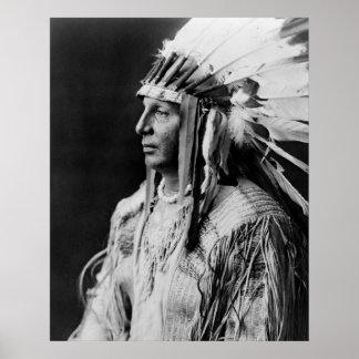 Escudo blanco - indio del nativo americano de póster
