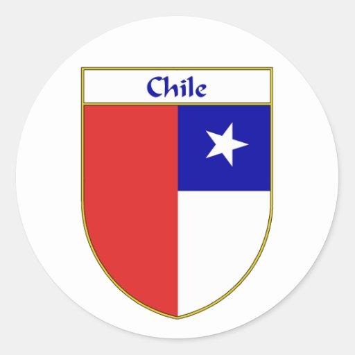 Escudo chileno de la bandera etiqueta redonda