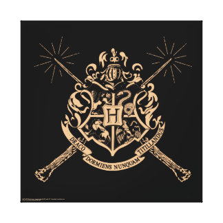 Escudo cruzado Hogwarts de las varas de Harry Impresión En Lienzo