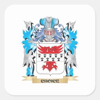 Escudo de armas bien escogido - escudo de la calcomanía cuadrada