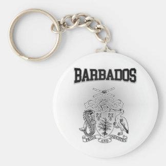 Escudo de armas de Barbados Llavero Redondo Tipo Chapa