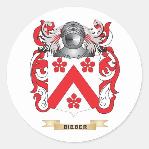 Escudo de armas de Bieber (escudo de la familia) Etiqueta Redonda