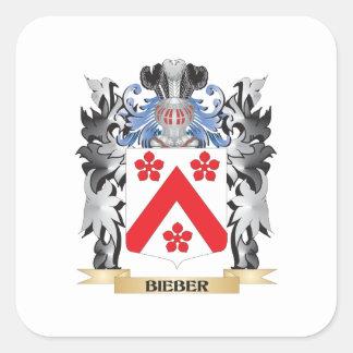 Escudo de armas de Bieber - escudo de la familia Pegatina Cuadrada