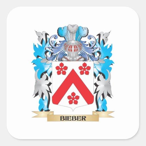 Escudo de armas de Bieber Calcomanias Cuadradas