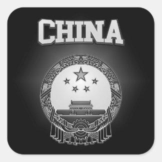 Escudo de armas de China Pegatina Cuadrada