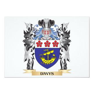 Escudo de armas de Davys - escudo de la familia Invitación 12,7 X 17,8 Cm