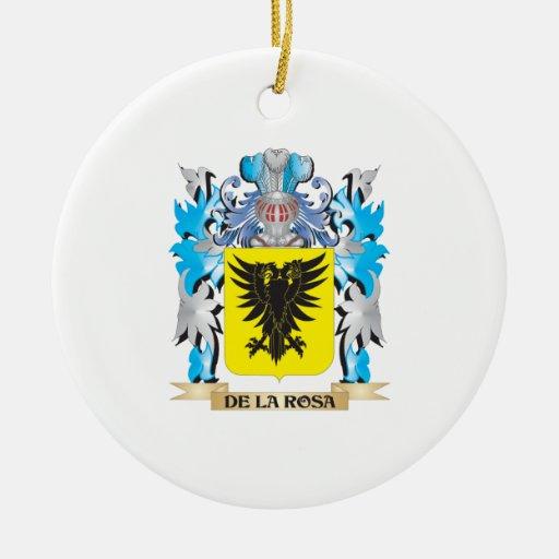 Escudo de armas de De-La-Rosa - escudo de la famil Ornamentos De Navidad
