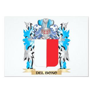 Escudo de armas de Del-Bono - escudo de la familia Invitación 12,7 X 17,8 Cm