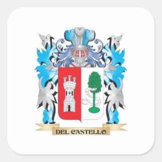Escudo de armas de Del-Castello - escudo de la Pegatina Cuadrada