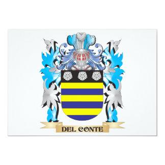 Escudo de armas de Del-Conte - escudo de la Invitación 12,7 X 17,8 Cm