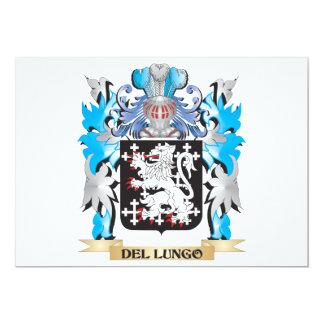 Escudo de armas de Del-Lungo - escudo de la Invitación 12,7 X 17,8 Cm