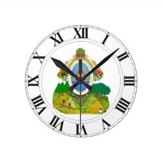 Escudo de armas de Honduras Reloj Redondo Mediano