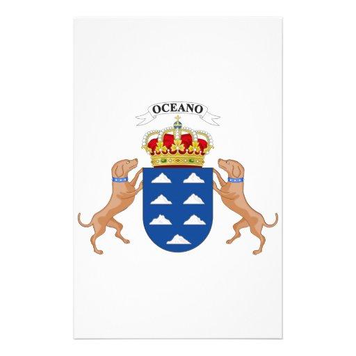 Escudo de armas de las islas Canarias (España) Papelería Personalizada