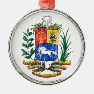 Escudo de armas de Venezuela Adorno Redondo Plateado