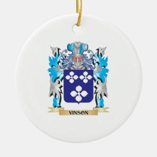 Escudo de armas de Vinson - escudo de la familia Adorno Navideño Redondo De Cerámica