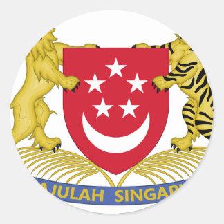 Escudo de armas del emblema del 新加坡国徽 de Singapur Pegatina Redonda
