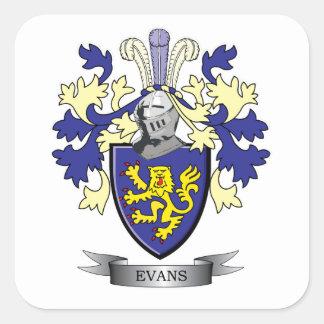 Escudo de armas del escudo de la familia de Evans Pegatina Cuadrada